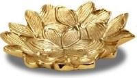 """10"""" Round Gold Metal Flower Dish"""
