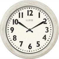 "12"" Round Distressed White Finish Wall Clock"