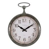 "13"" Distressed Silver Finish Pocket Watch Wall Clock"