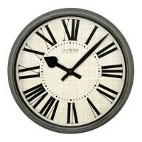 "14"" Round Distressed Gray Finish Wall Clock"
