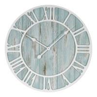 "24"" Round Aqua Wood with White Roman Numerals Wall Clock"