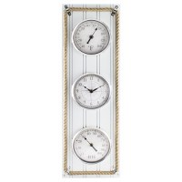 "25"" x 8"" White Beadboard Temperature and Humidity Clock"