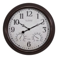 "15"" Round Distressed Bronze Finish Temperature and Humidity Clock"