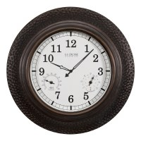 "22"" Round Distressed Copper Finish Temperature and Humidity Clock"