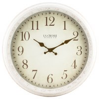 "16"" Round Distressed White Finish Wall Clock"