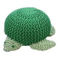"""22"""" Green Knit Turtle Pouf"""