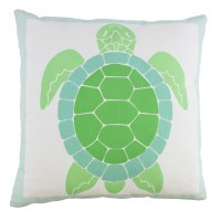 "16"" Square Green Turtle Pillow"