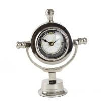 "10"" Silver Nautical Desk Clock"