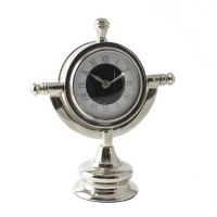 "8"" Silver Nautical Desk Clock"