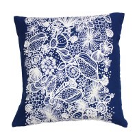 "18"" Square Navy and White Embroidered Shell Pillow"
