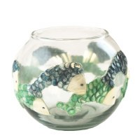 "5"" Round Blue and Green Capiz and Glass Fish Votive"