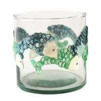 "3"" Round Blue and Green Capiz and Glass Fish Votive"