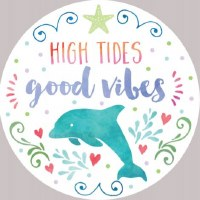 Set of Two Multicolored High Tides Good Vibes Dolphin Car Coasters