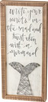 """20"""" x 9"""" Write Your Secrets In The Sand String Wood Plaque"""