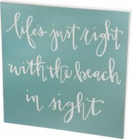 """26"""" Square Life's Just Right With Beach Wood Plaque"""