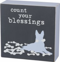 """5"""" Square Count Your Blessings Wood Plaque"""