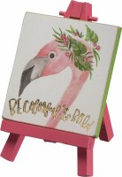 "3"" Square Be Colorful and Bold Flamingo Easel Sign"