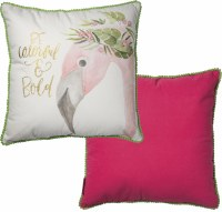 "16"" Square Be Colorful and Bold Flamingo Pillow"