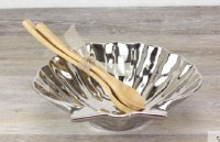 """10"""" Silver Shell Bowl with Wood Servers"""