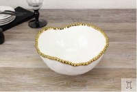 "11"" Round White and Gold Beaded Ceramic Bowl"