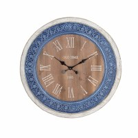 """31"""" Round Blue and White Wood and Metal Clock"""