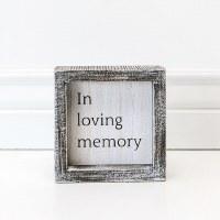 "5"" Square Whitewash In Loving Memory Framed Wood Plaque"