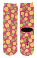Pink and Yellow Pineapple Crew Socks