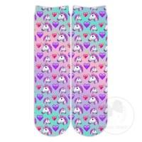Purple Unicorn Emoji No Show Socks