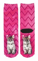 Cat with Glasses Pink Crew Socks
