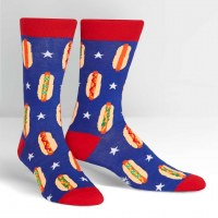 Red and Blue Foot Long Hotdog Socks
