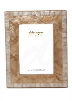 """4"""" x 6"""" Gold and White Capiz Picture Frame"""
