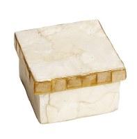 "3"" Square White and Gold Capiz Box"