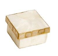 "2.5"" Square White and Gold Capiz Box"