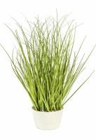 "12"" Faux Green Grass in White Pot"