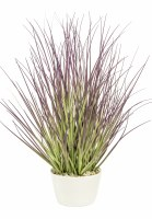 """12"""" Faux Green and Purple Grass in White Pot"""