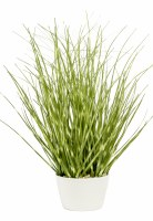 """12"""" Faux Green Spotted Grass in White Pot"""