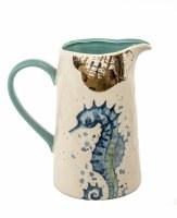 "7"" Ceramic Cream, Blue and Teal Seahorse Pitcher"