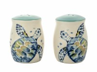 """3"""" Ceramic Cream, Blue, and Teal Turtle Salt and Pepper Shakers"""