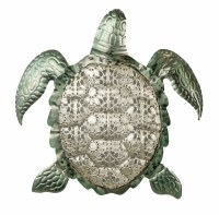 """20"""" Metal Silver and Green Sea Turtle Plaque"""