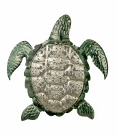 """12"""" Metal Silver and Green Sea Turtle Plaque"""