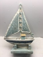 """13"""" Blue and White Sailboat with Sea Glass Sail and Wood Base"""