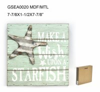 "8"" Square Wish Upon A Starfish Sign"