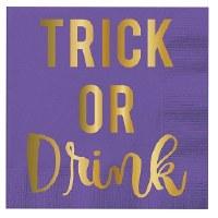 """5"""" Square Trick or Drink Foil Paper Beverage Napkins"""