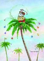 "7"" x 5"" Box of 18 Golfing Santa on Palm Tree Christmas Cards"