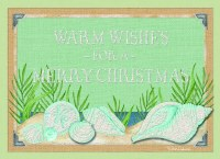 """5"""" x 7"""" Box of 12 Green with Aqua Glitter Shell Christmas Cards"""