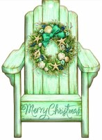 """7"""" x 5"""" Box of 12 Green Chair with Wreath Merry Christmas Cards"""