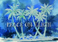 """5"""" x 7"""" Box of 14 Blue Palm Trees Peace On Earth Christmas Cards"""