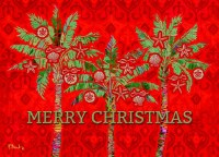 "4"" x 8"" Box of 14 Red with Green Palms Merry Christmas Cards"