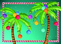 """6"""" x 8"""" Box of 18 Multi Colored Palm Tree Ornament Christmas Cards"""