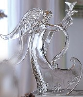 """11"""" Clear Acrylic Angel With Dove"""